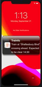 TRAINFO's mobile app notifies motorists when a rail crossing is blocked
